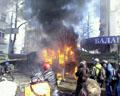 В Києві нова гаряча точка: На Садовій підпалили вантажівку, Рада в диму