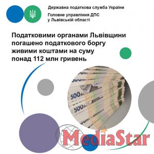 Податковими органами Львівщини погашено податкового боргу живими коштами на суму понад 112 млн гривень